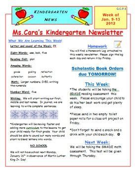 elementary weekly newsletter template school ideas