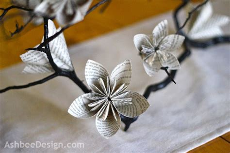 Origami Flowers Book - origami flower table centerpiece