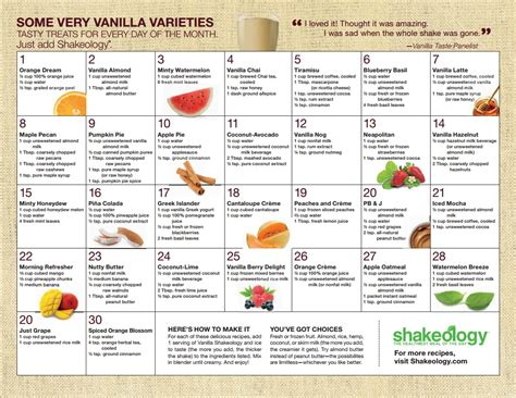 printable shakeology recipes clean eating and fitness shakeology recipes