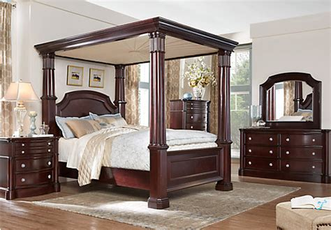 canopy bedroom furniture sets dumont cherry 6 pc king canopy bedroom bedroom sets dark wood