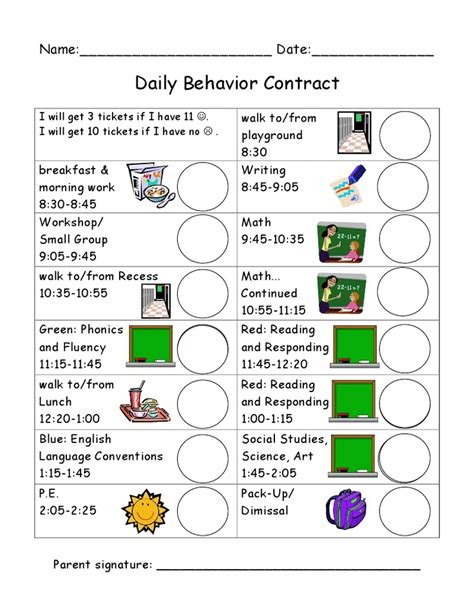 daily behavior chart class rules pinterest