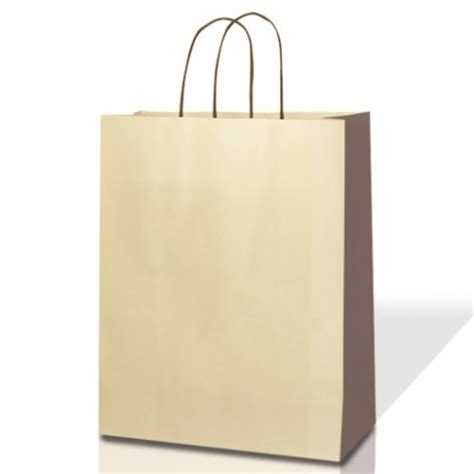two colour kraft paper bags with twisted handles