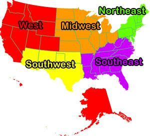 us map divided south east west southwest united states regions