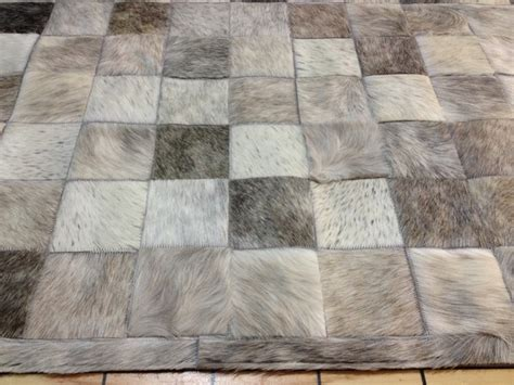 Patchwork Hide Rug - grays cowhide patchwork rug cow hide fur hides