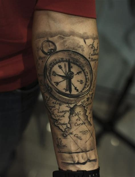 Tattoo Compass And Map | 80 fantastic map tattoos