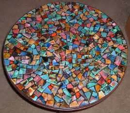 Mosaic table table top with textured clay tiles pictures to pin on