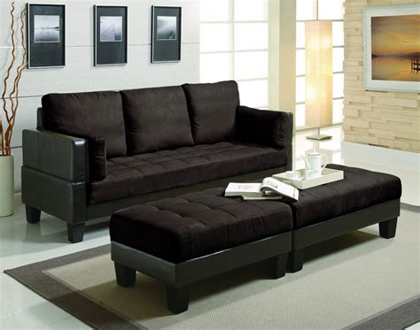 sofa ottoman chaise furniture faux leather and microfiber small sectional