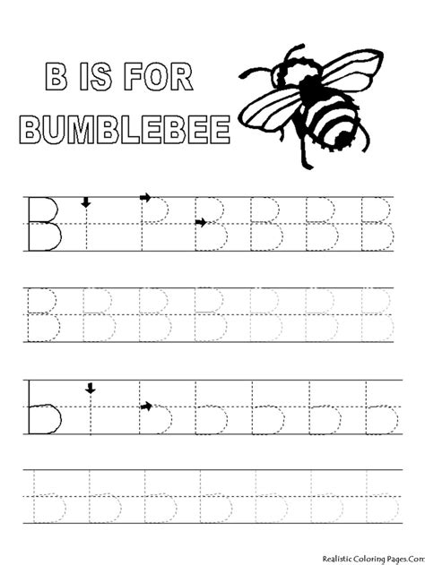 printable letter tracing book alphabet tracer pages b for bumblebee coloring pages