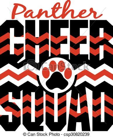 vectors of panther cheer squad with chevrons and paw print