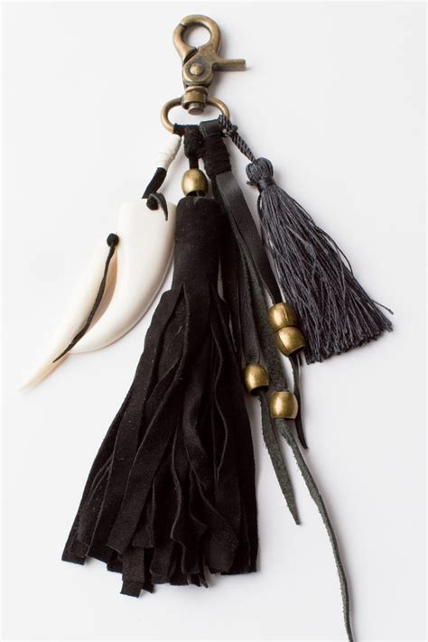 Tassel Earring Key awesome mish mash bag ring of soft black suede tassels brass beaded leather strips and