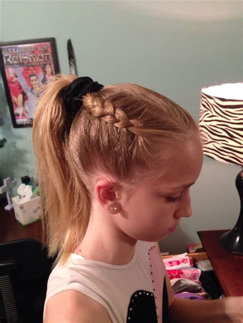 gymnastics updos gymnastics hairstyle dutch braid hairstyles pinterest