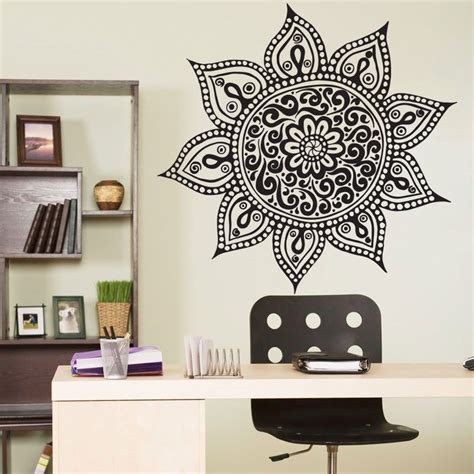 home decoration stickers yoga mandala om indian buddha symbol mehndi vinyl wall