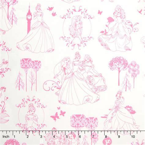 disney toile wallpaper princess toile light pink yardage camelot design