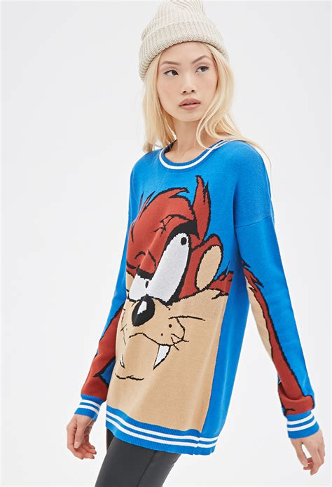 Hoodie Devils Chinays Fashion lyst forever 21 tasmanian sweater in blue
