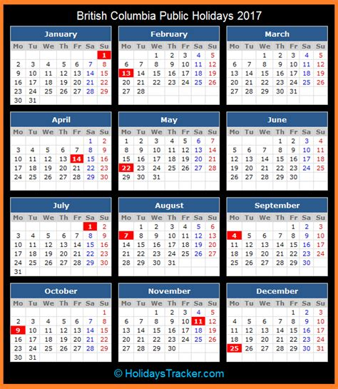 Columbia Calendar Columbia Canada Holidays 2017 Holidays