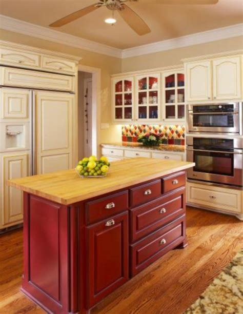 kitchen island red simplifying remodeling two tone cabinet finishes double