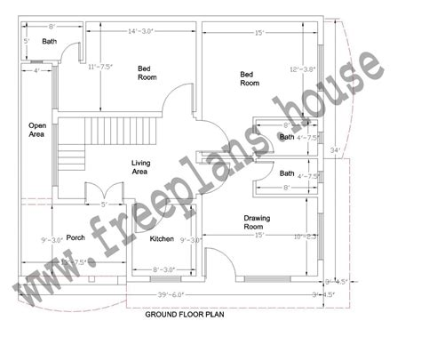 1500 square feet in meters 39 215 34 feet 123 square meter house plan