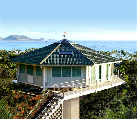 house in hawaiian beachfront and coastal pedestal stilt and piling