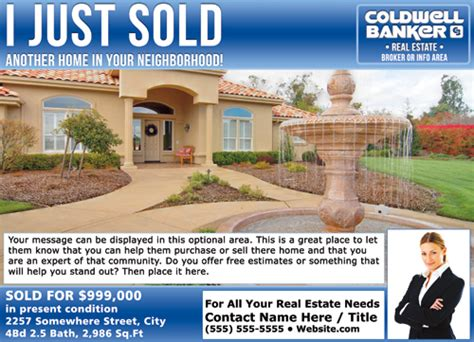 templates from other realtor post cards just sold coldwell banker eddm just sold postcards