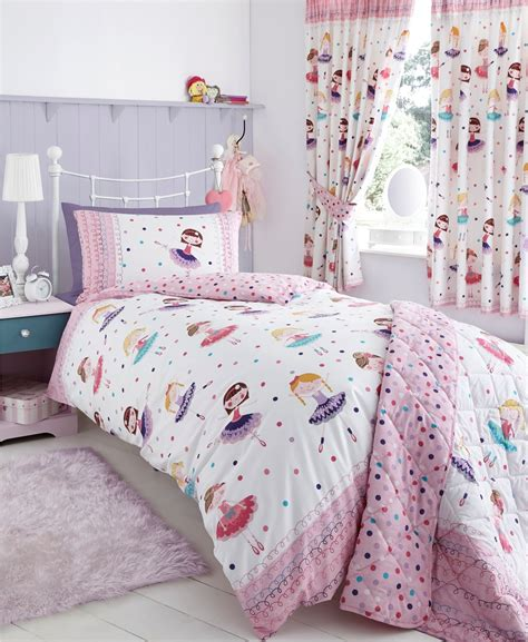 Single Bedding And Curtain Sets White And Pink Based Bedroom Curtain With Matching Bedding Set On White Polished Metal Single
