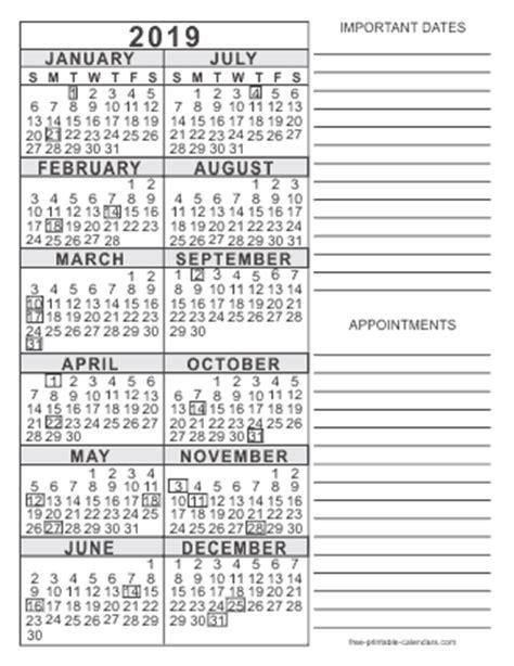 2019 free printable calendars free printable calendars