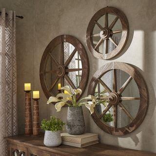 moravia  reclaimed wood wagon wheel wall mirror