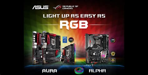 motherboards with rgb lighting asus rog rgb aura alpha motherboards from novatech