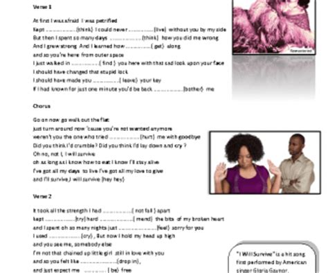 verb pattern manage song worksheet i will survive verb patterns
