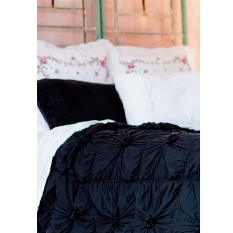 lazybones vintage style bedding rosette charcoal quilt