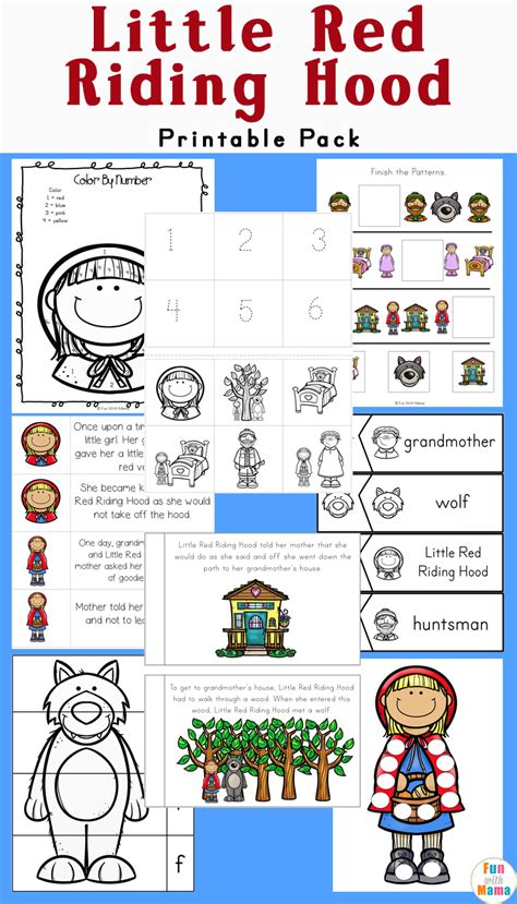 printable version of little red riding hood little red riding hood printables and activities pack