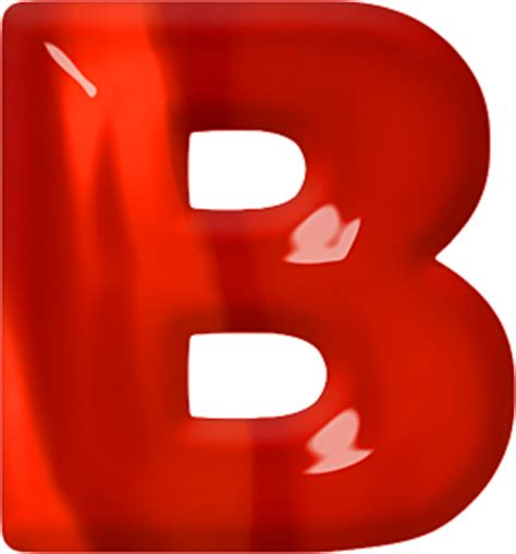 the b presentation alphabets red glass letter b
