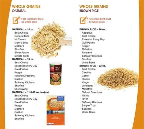 a list of whole grains foods new mexico wic food list