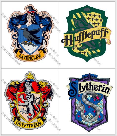 harry potter designs harry potter ravenclaw gryffindor hufflepuff slytherin embroidery machine designs instant