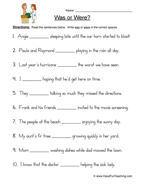 free printable worksheets was were new 40 first grade worksheets using was and were