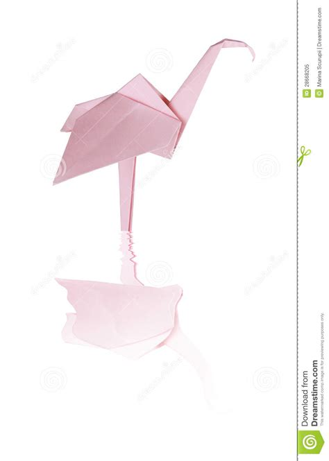 3d origami flamingo origami pink paper flamingo royalty free stock photo