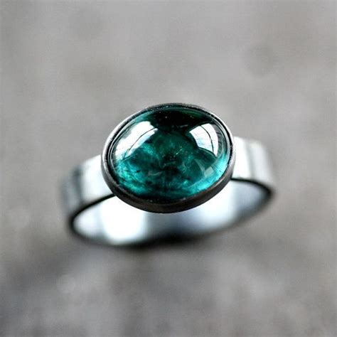 blue green tourmaline ring teal blue green indicolite