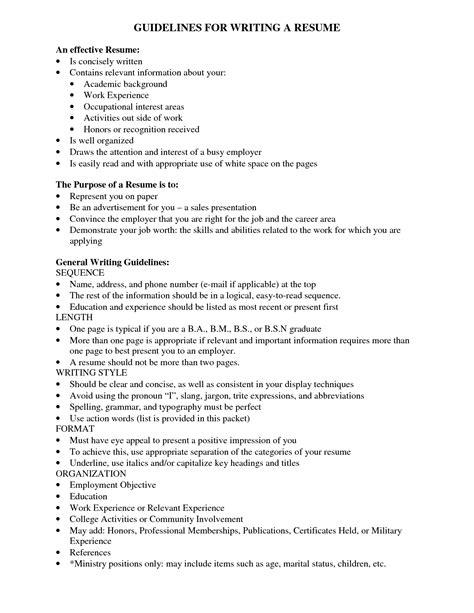 resume basic guidelines resume guideline resume ideas