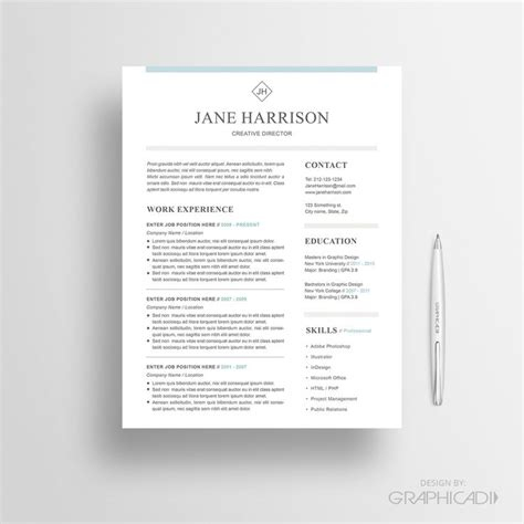 matching cover letter and resume templates 27 best etsy resume templates etsy cv templates images