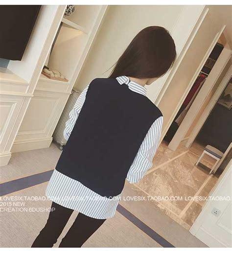 Mini Dress Kemeja Kerja Garis Lengan Panjang Baju Wanita Korea Import kemeja garis garis lengan panjang 2016 myrosefashion