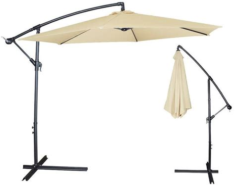 Canopy Umbrellas For Patios Clevr 10ft Offset Umbrella Outdoor Deck Patio Cantilever Hanging Canopy Beige From Crosslinks