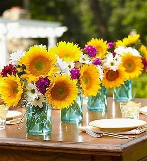 Sunflower Centerpieces For Weddings 30 Sunflowers Table Centerpieces Adding Yellow Color