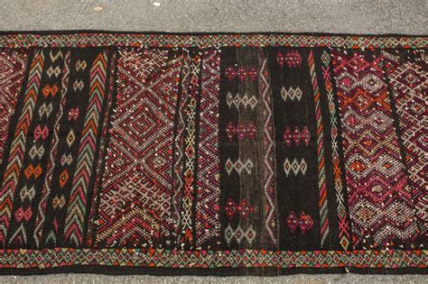 Moroccan Runner Rug Moroccan Tuareg Vintage Black Runner Rug For Sale At 1stdibs