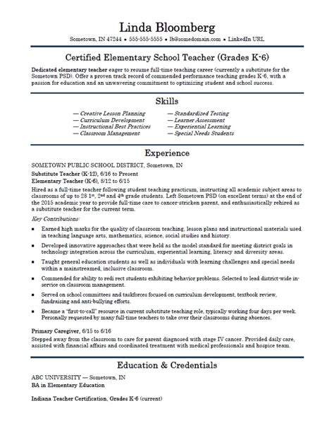 Resume Sample For Teacher by Elementary Teacher Resume Template Monster Com