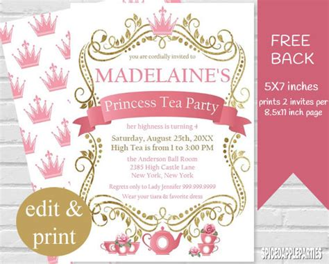princess theme invitation template princess tea invitations sansalvaje