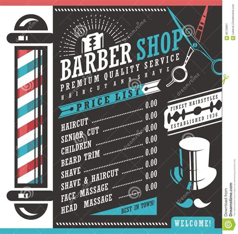 hair salon books posters and banners with hairstyles barber shop price list template haircut shave retro sign