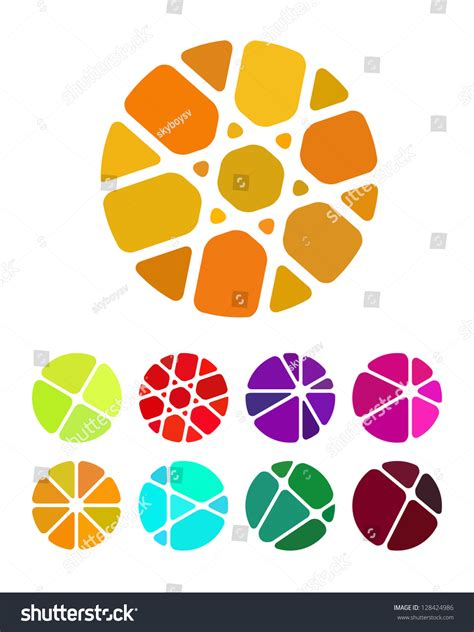 design round logo element crushing abstract stock vector