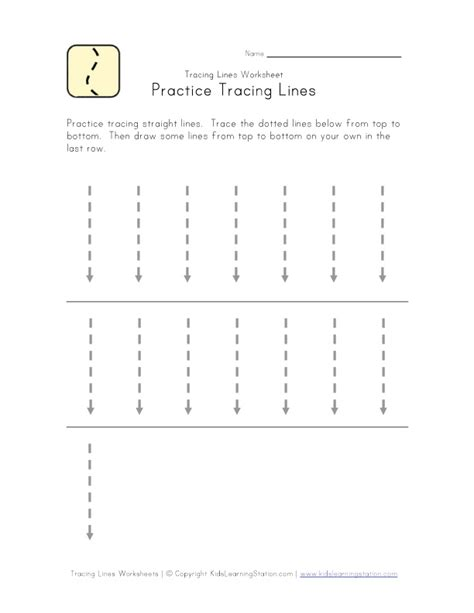 printable tracing vertical lines trace lines down worksheet kids learning station