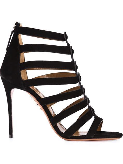 black strappy sandals aquazzura strappy stiletto sandals in black lyst
