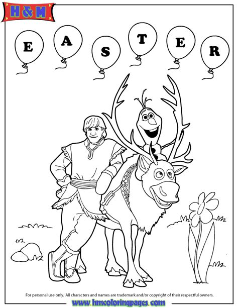 hm coloring pages frozen frozen sven olaf and kristoff easter coloring page h m