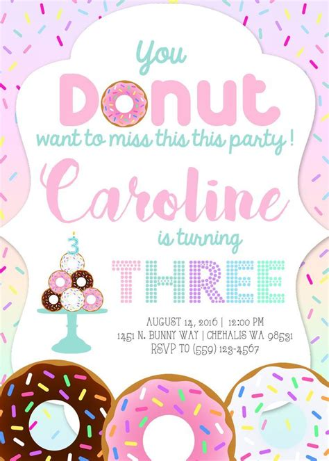 You Donut Want To Miss This Party Donut Birthday Party Invitation Invite Donuts Donut Cake Donut Invitation Template